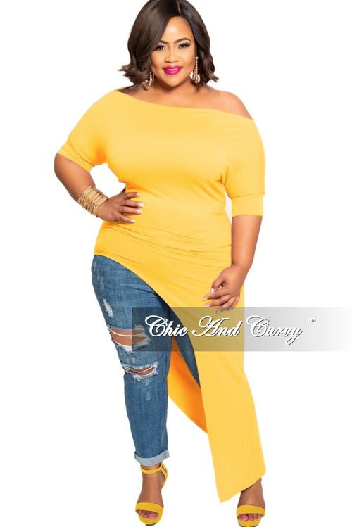 New Plus Size Off the Shoulder Asymmetrical Tunic Top in Mustard