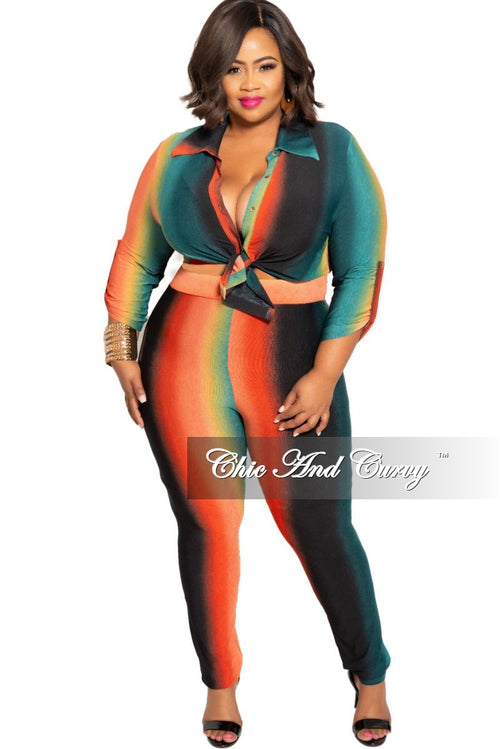 New Plus Size 2-Piece Button Up Collar Top and Pants Set in Orange Mustard and Teal Ombré