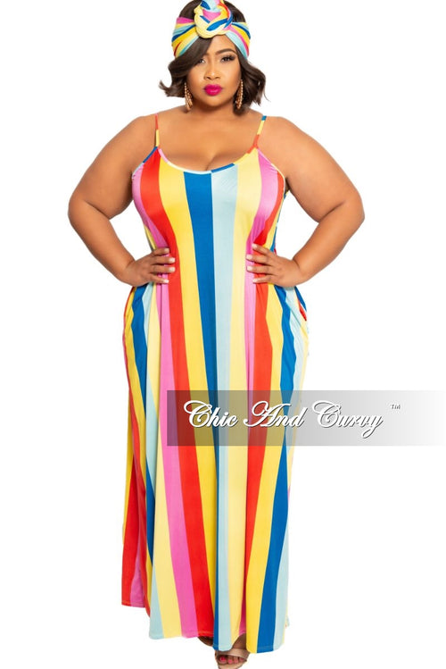 Final Sale Plus Size Spaghetti Strap Maxi with Matching Head Wrap in Magenta Yellow Mint Royal Blue and Red Strip Print