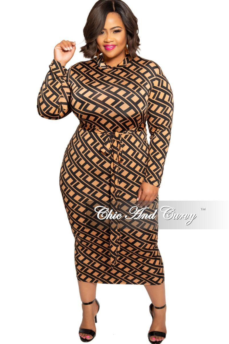 New Plus Size Reversible BodyCon Dress in Rust and Black Design Print