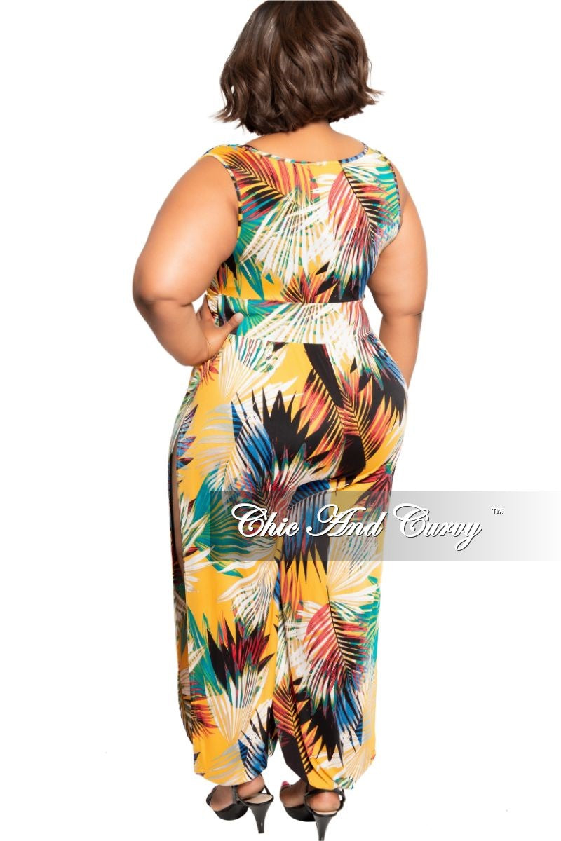 New Plus Size Faux Wrap Jumpsuit with High Side Slits in Fuchsia/Mustard Multicolor Leaf Print