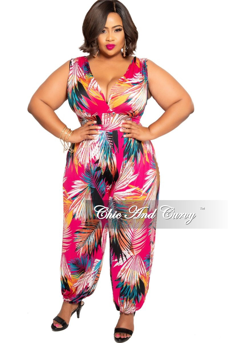 New Plus Size Faux Wrap Jumpsuit with High Side Slits in Fuchsia Multicolor Leaf Print