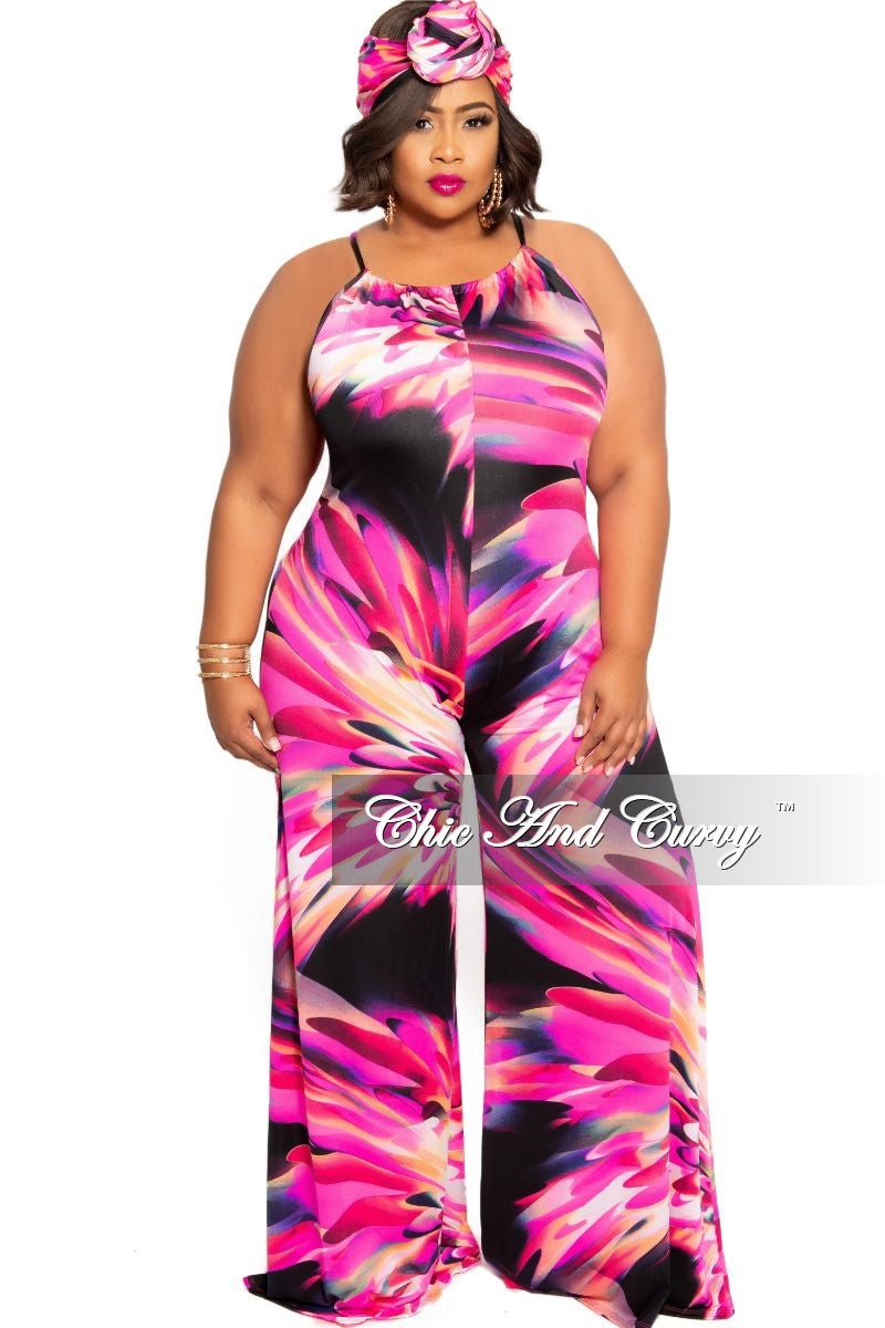 New Plus Size Front Keyhole Jumpsuit and Matching Head Wrap in Fuchsia and Black Design Print