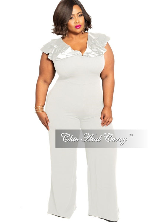 FInal Sale Plus Size Jumpsuit with Layered Ruffle Sleeves in Ivory