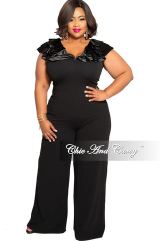 Final Sale Plus Size Off the Shoulder Tulle Open Sleeve Wide Leg Jumpsuit in Off White