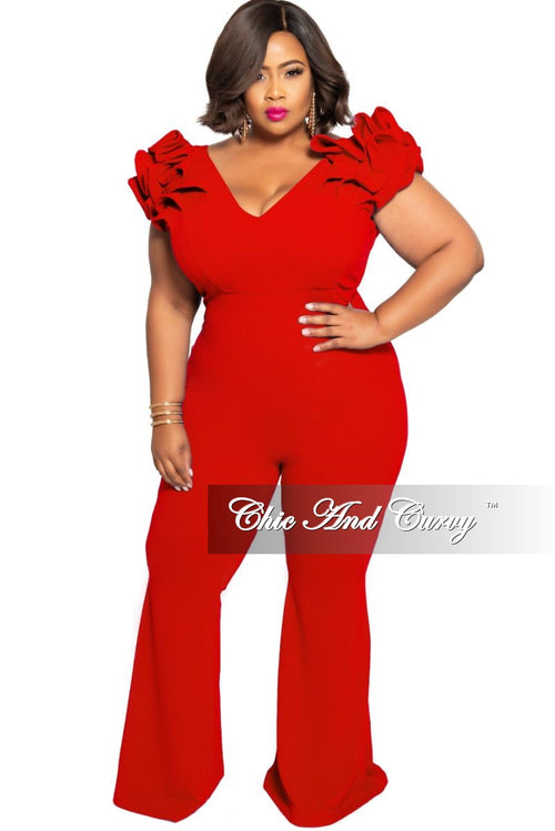 Final Sale Plus Size Jumpsuit with Ruffled Cap Sleeves in Red