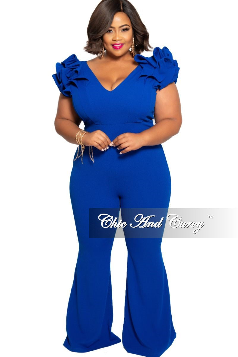 New Plus Size Jumpsuit with Ruffled Cap Sleeves in Royal Blue