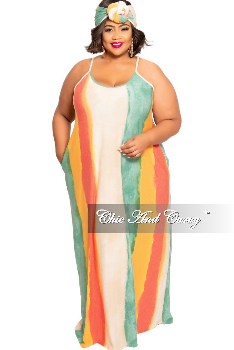 fea2349822cc9 New Plus Size Spaghetti Strap Maxi with Matching Head Wrap in Tan Green  Orange and Red Tie Dye Print