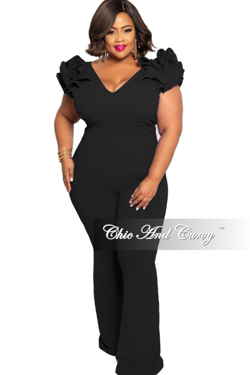 New Plus Size Jumpsuit with Ruffled Cap Sleeves in Black