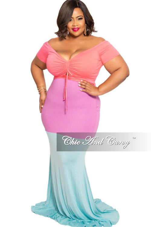 New Plus Size Off the Shoulder Maxi Dress with Front Keyhole in Coral Light Purple and Aqua Sections