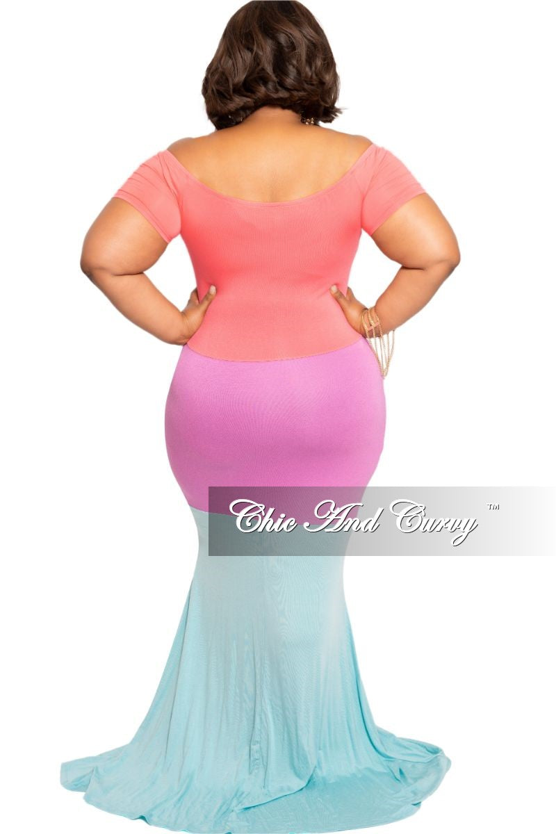 New Final Sale Plus Size Off the Shoulder Maxi Dress with Front Keyhole in Coral Light Purple and Aqua Sections