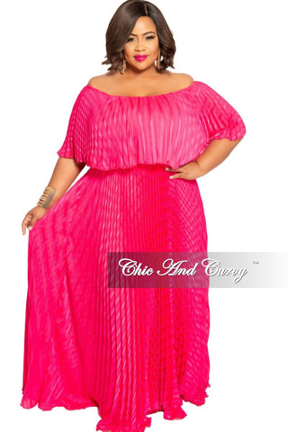 New Plus Size 3/4 Sleeve Pocket Maxi Dress with Tie in Fuchsia Black Yellow and Green Design Print