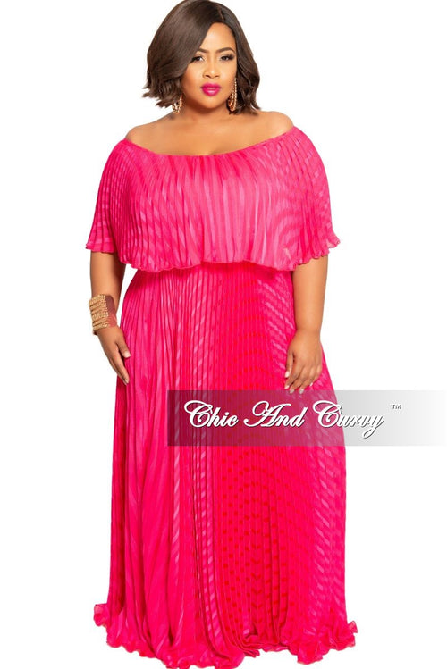 Final Sale Plus Size Off the Shoulder Ruffle Overlay Pleated Peasant Maxi in Fuchsia