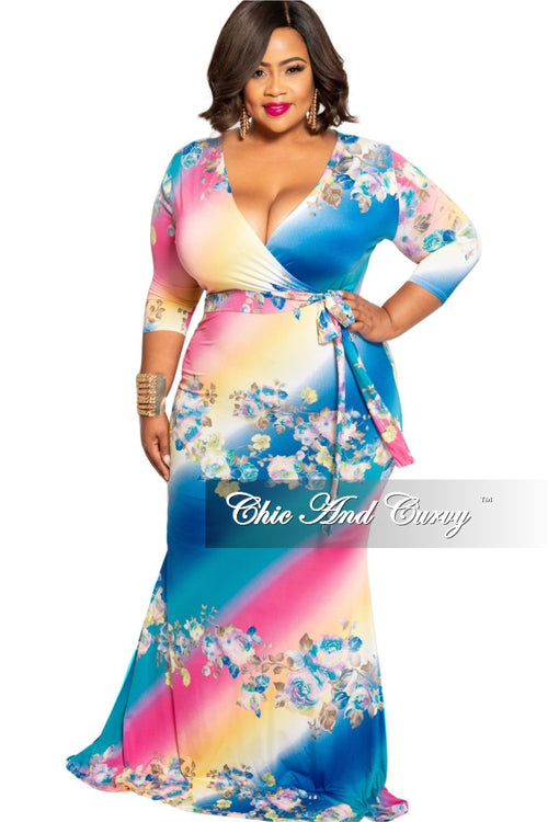 New Plus Size Faux Wrap Bodycon Maxi in Multi Color Tie Dye Floral Print