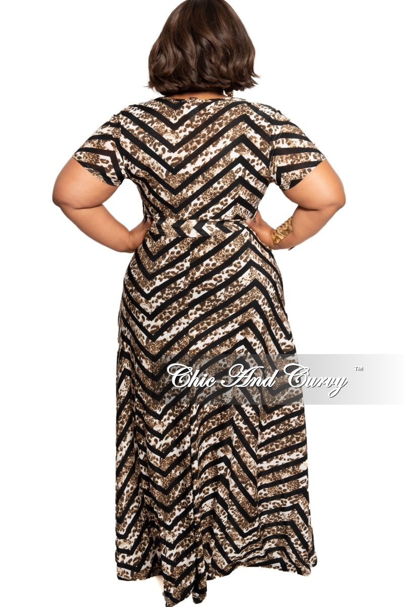 Final Sale Plus Size Faux Wrap Maxi Dress in Animal Zig Zag Design Print