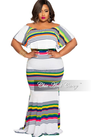 Final Sale Plus Size Chiffon Off the Shoulder Pleated Maxi Dress in White Blue and Pink Floral Print
