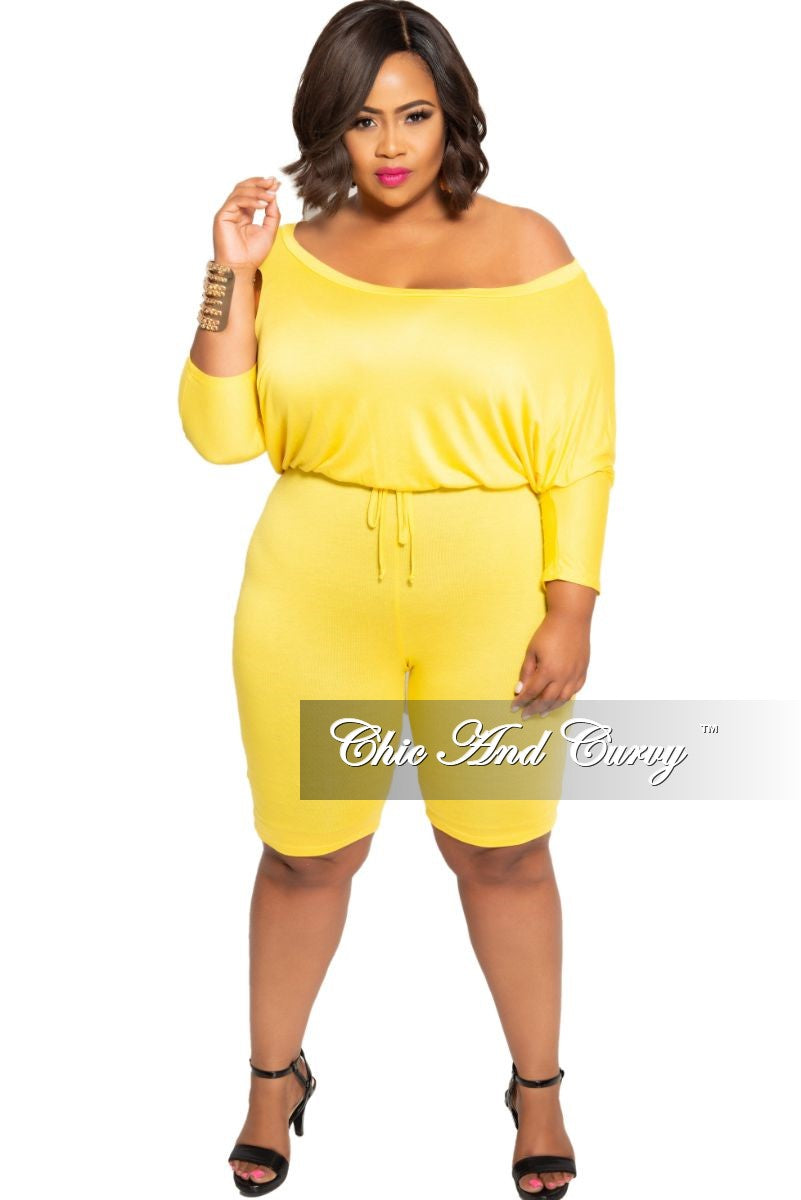 Final Sale Plus Size Off the Shoulder Romper with Drawstring in Yellow