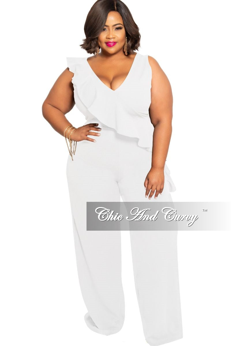 Final Sale Plus Size Jumpsuit with Front Ruffle Overlay in Ivory