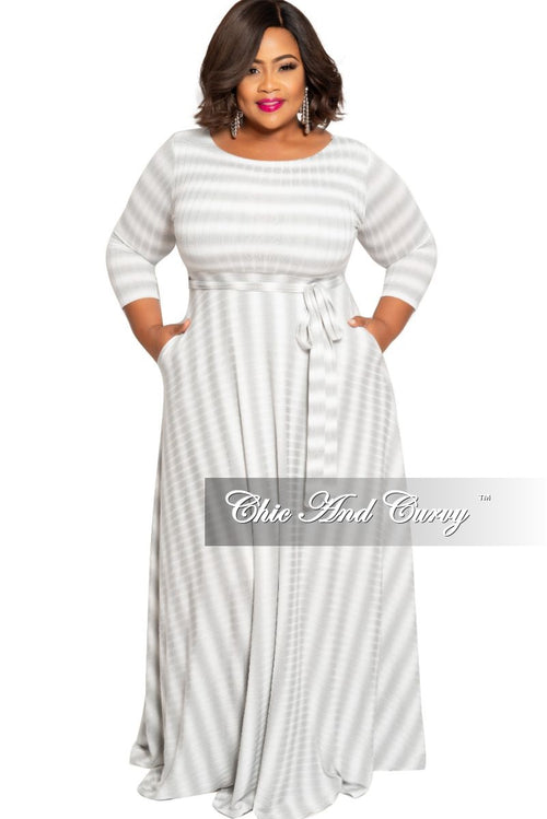 Final Sale Plus Size Ribbed 3/4 Sleeve Pocket Maxi with Tie in Grey and White Stripe Tie Dye Print