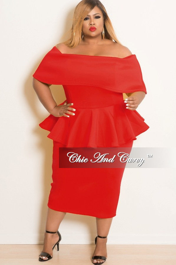 New Plus Size Off the Shoulder BodyCon Peplum Dress with Silver Zipper in Red