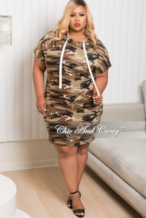35% Off Sale - Final Sale  Plus Size Distressed Hooded Dress in Camouflage Print