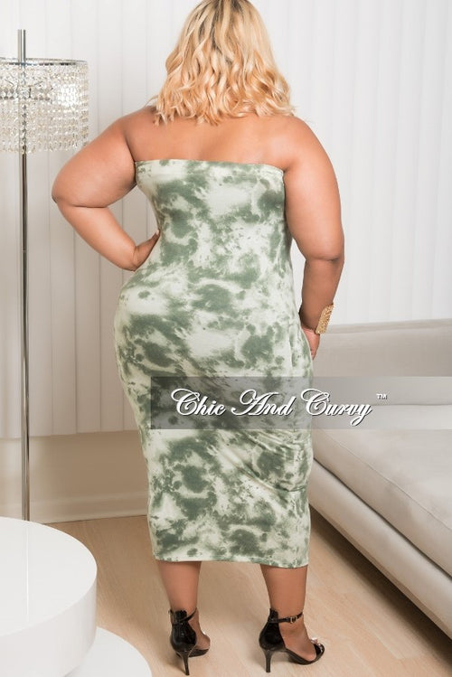 New Plus Size BodyCon Tube Tie Dye Dress Green and Olive