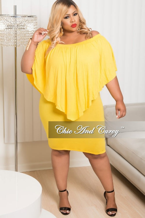 New Plus Size BodyCon Off The Shoulder Overlay Dress in Yellow