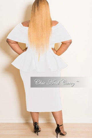Final Sale Plus Size Off the Shoulder BodyCon Peplum Dress with Silver Zipper in Off White