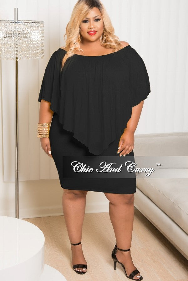 New Plus Size BodyCon Off The Shoulder Overlay Dress in Black