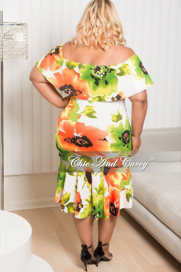 Final Sale  Plus Size Floral Off the Shoulder BodyCon Ruffle Dress in White, Orange, Green, Yellow and Black