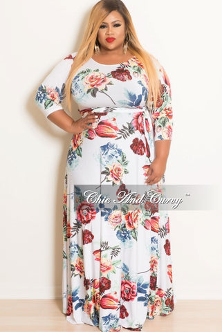 Final Sale Plus Size Floral Short Sleeve Long Dress in White, Pink, Blue, Red, Yellow and Green