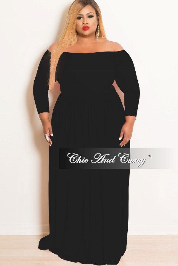 New Plus Size Off the Shoulder Long Dress in Black
