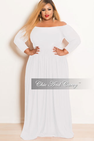 Final Sale Plus Size Off the Shoulder Long Dress in White