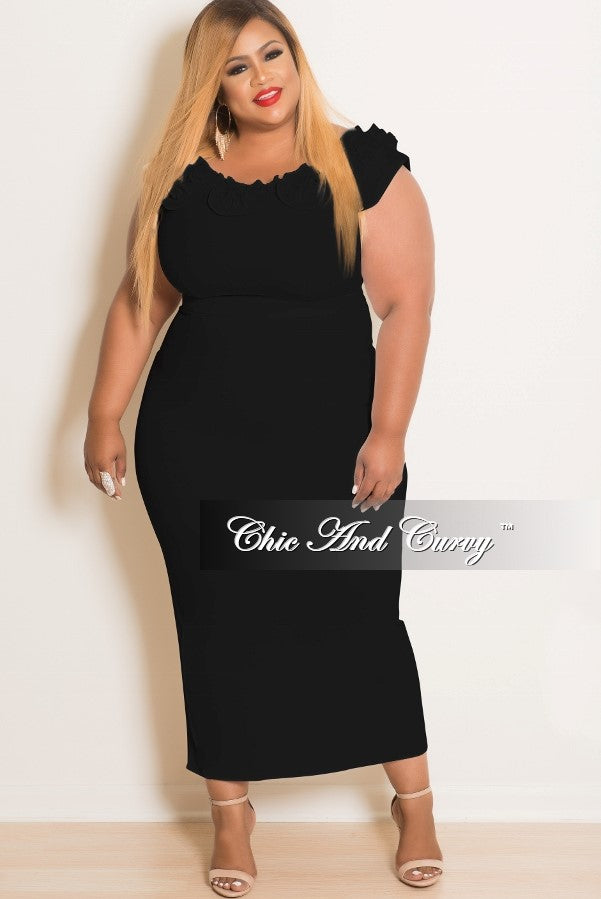 New Plus Size Sleeveless Ruffle Dress in Black
