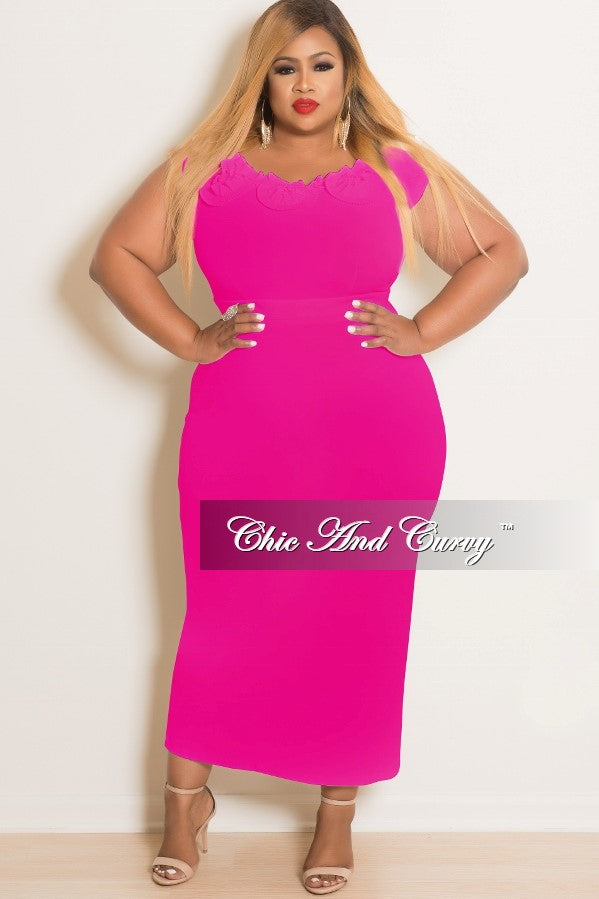 35% Off Sale - Final Sale Plus Size Sleeveless Ruffle Dress in Hot Pink
