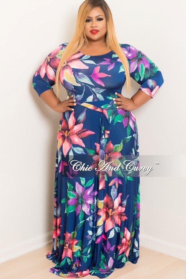New Plus Size Long Floral Dress with 3/4 Sleeve and Tie in Navy, Purple, Pink and Green
