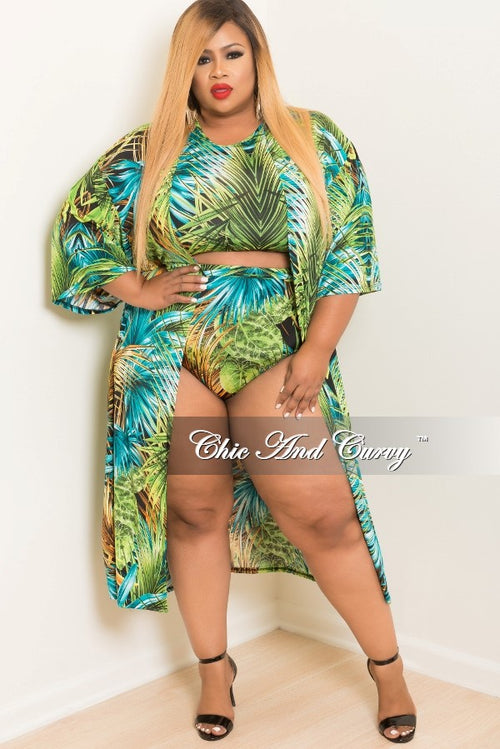 New Plus Size 3 Piece Play Suit Crop Top with High Waist Bottom and Matching Coat in Turquoise, Green, Orange and Black