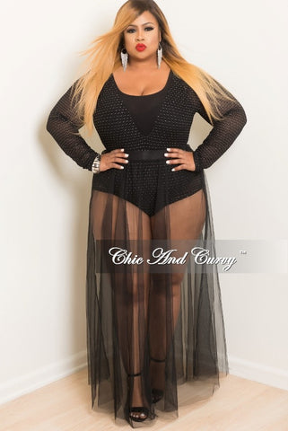 Final Sale Plus Size Glittered Diamond Mesh Bodysuit in Black and Silver
