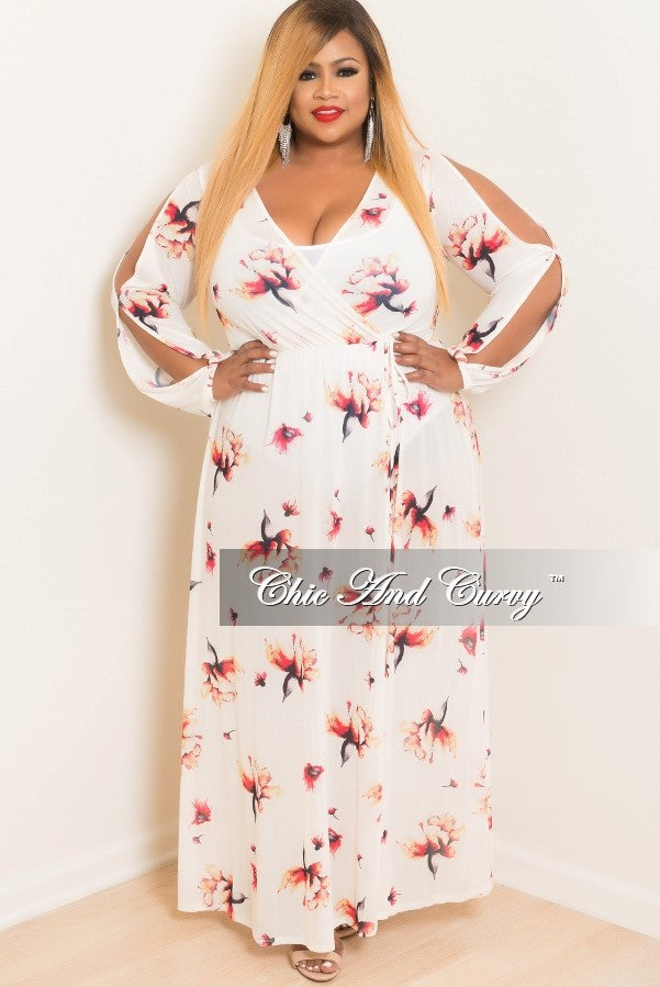 Final Sale Plus Size Long Sleeve Cover Updress With Front Slit In