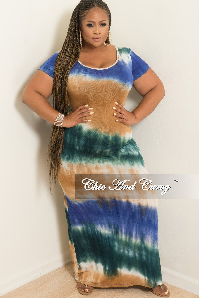 30817e1665 Final Sale Plus Size Short Sleeve Maxi Dress in Green Tan and Blue Tie –  Chic And Curvy