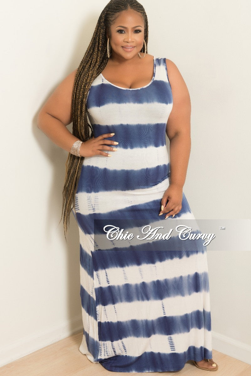 a42122c6e50 Final Sale Plus Size Sleeveless Maxi Dress in Navy and White Tie Dye ( –  Chic And Curvy