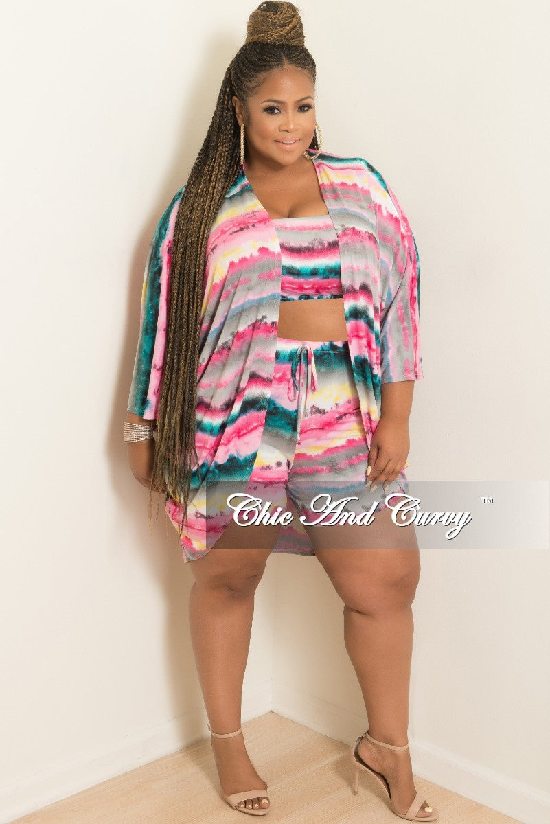 New Plus Size Tie Dye 3-Piece Short Set in Hot Pink Grey Teal and Yellow