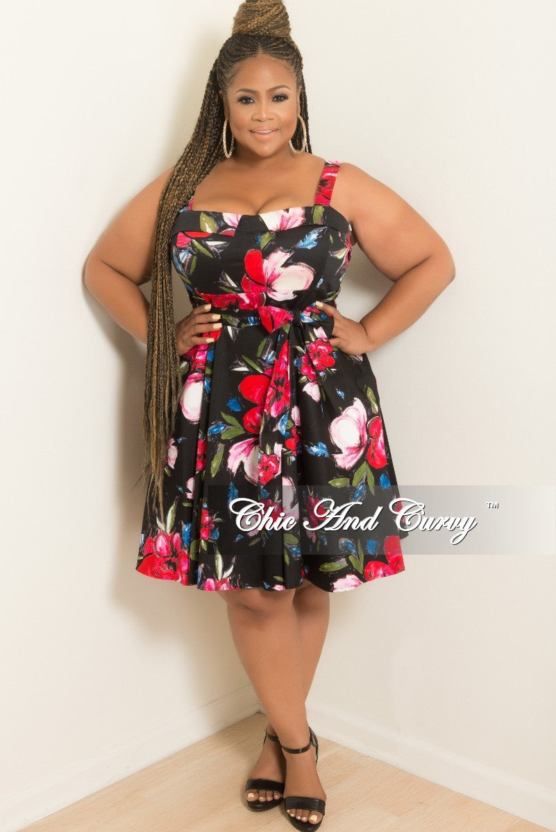 Final Sale Plus Size Skater Dress with Tie in Black Floral Print ...