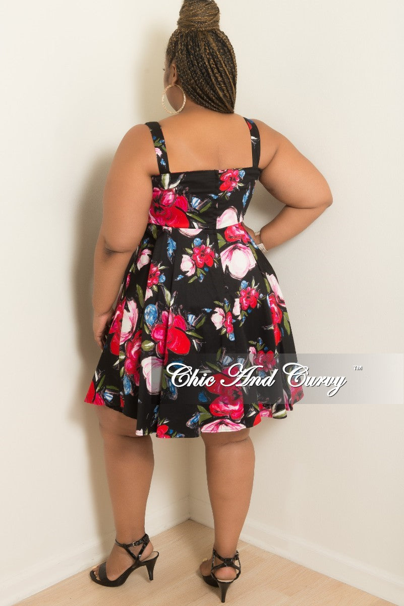 Final Sale Plus Size Skater Dress with Tie in Black Floral Print