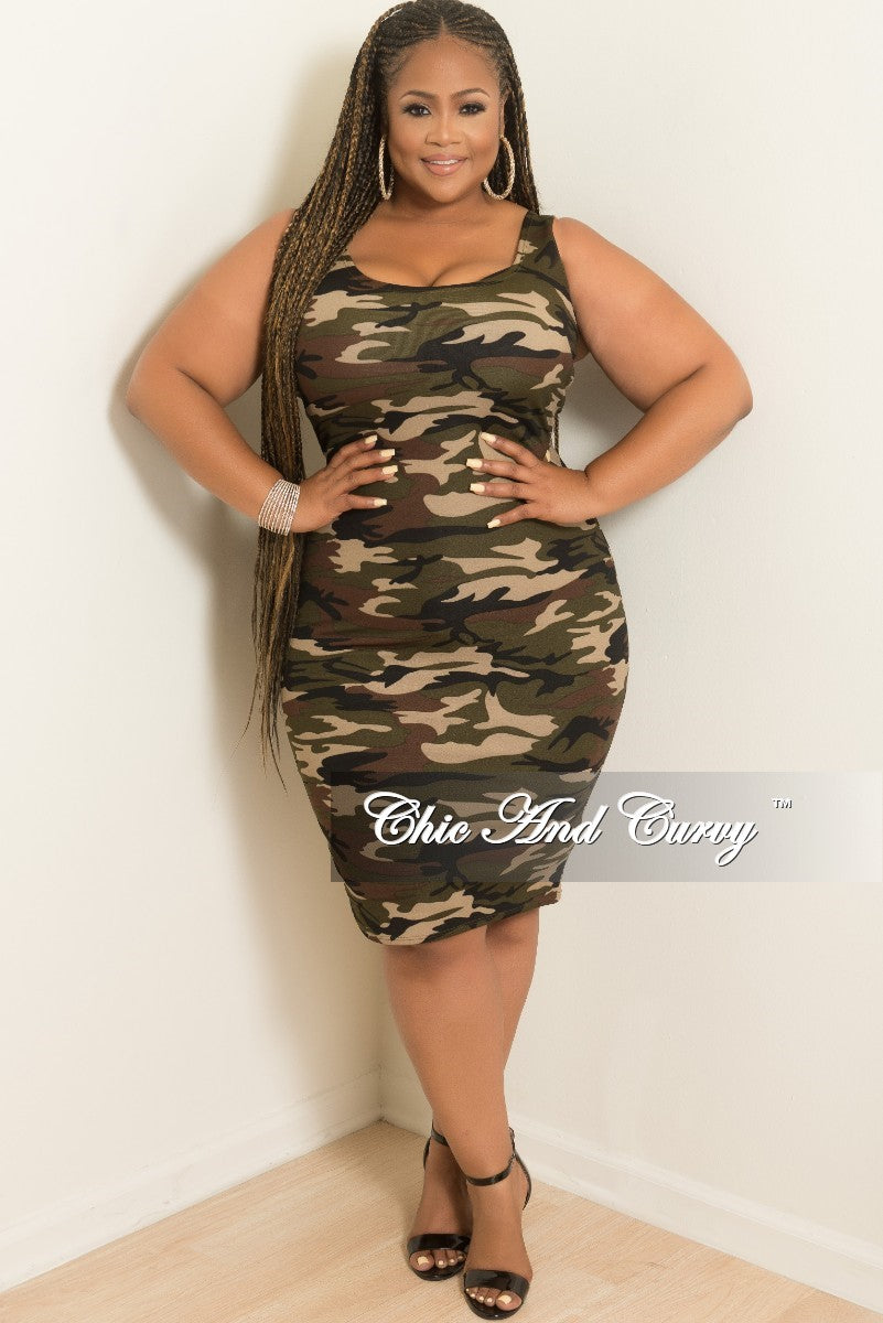 New Plus Size Sleeveless BodyCon Dress in Camouflage Print – Chic ...