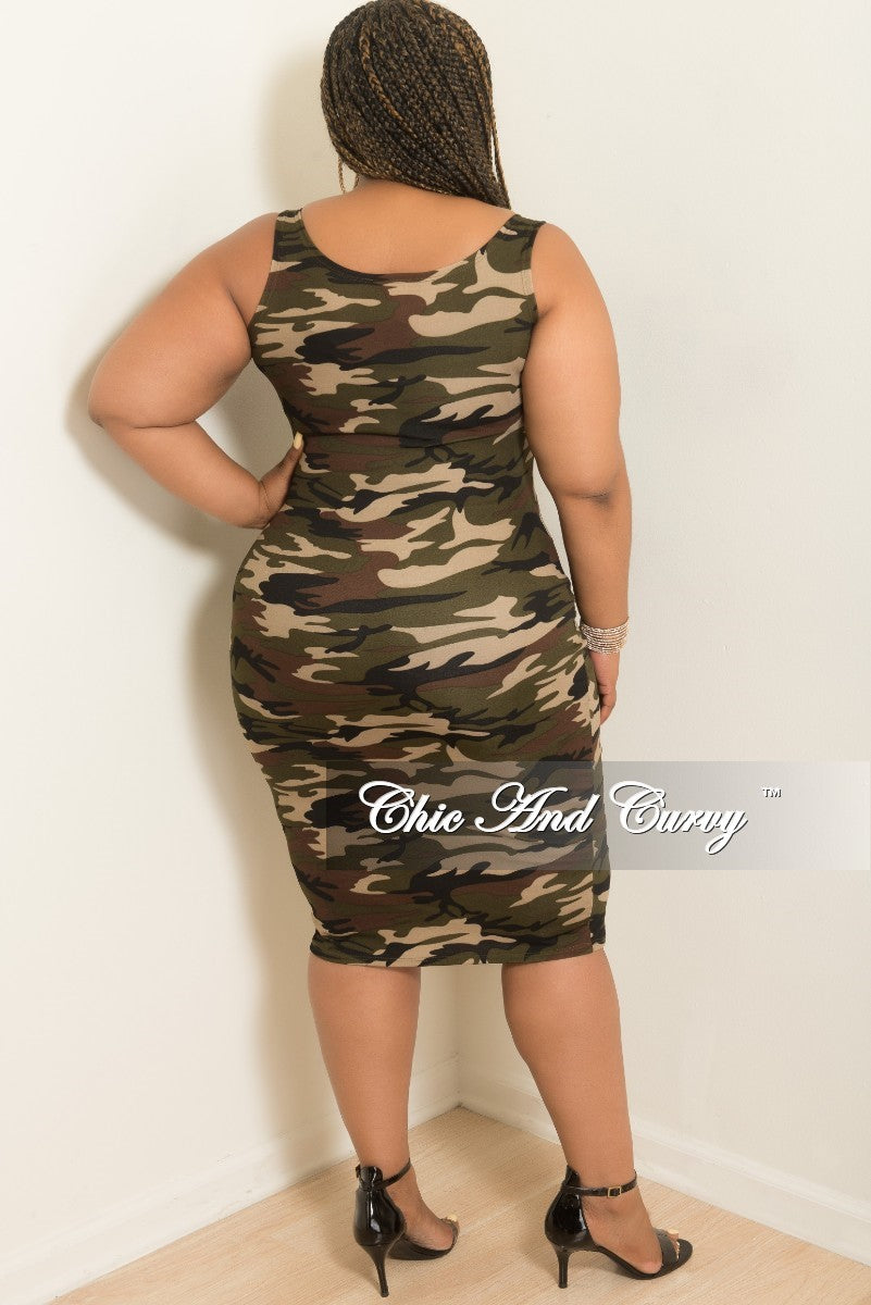 New Plus Size Sleeveless BodyCon Dress in Camouflage Print