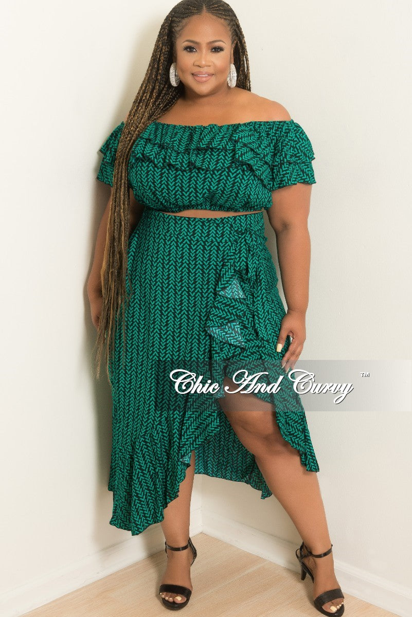 New Plus Size 2-Piece Off the Shoulder Ruffle Top and Wrap Tie Skirt Set in Green and Black