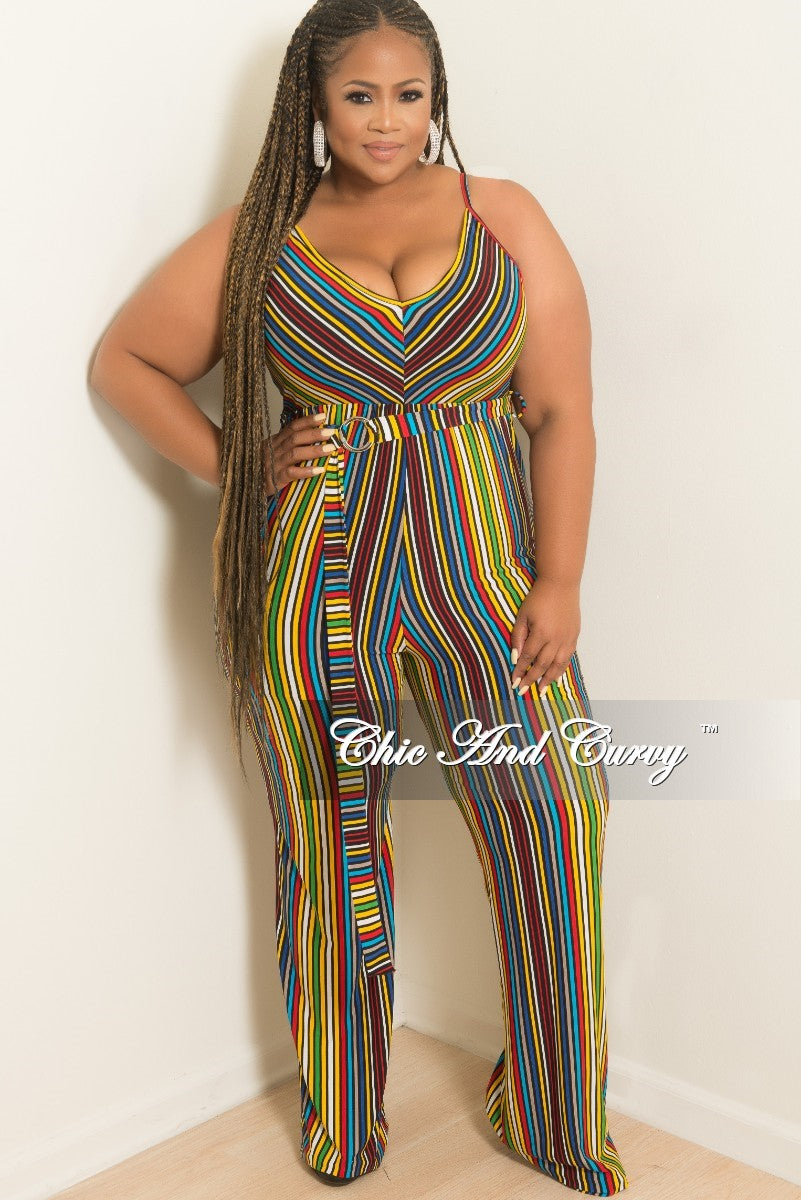 New Plus Size Spaghetti Strap Faux Wrap Jumpsuit in Multi Color Stripe Print
