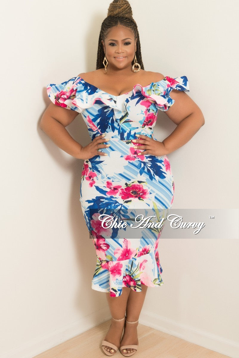 Final Sale Plus Size Off the Shoulder Ruffle Dress in Pink Floral Print