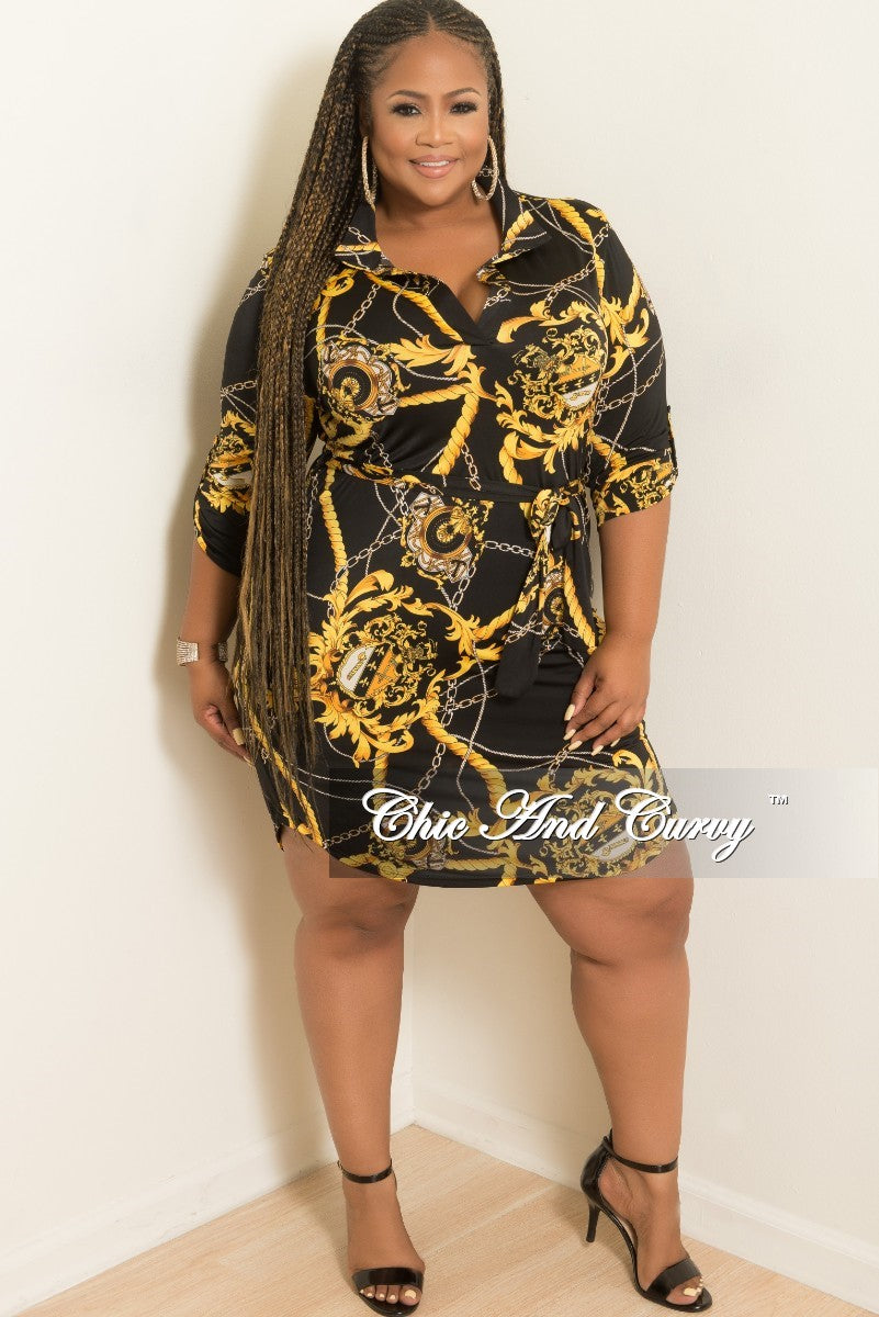 New Plus Size Collar Dress with Attached Tie in Black and Gold Print